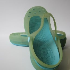 Crocs Translucent Green Jellies T-Strap Slip On's